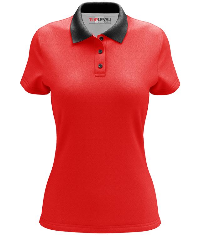 Dye sublimated custom ladies polo shirts toplevel sportswear for Custom full color t shirt printing