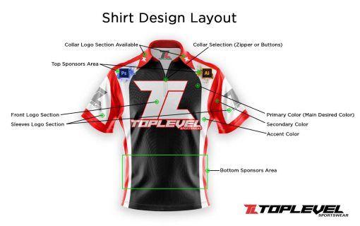 toplevel sportswear dye sublimation racing shirts